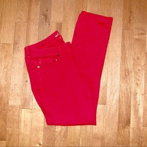 Michael Kors red mid rise skinny jeans size 6